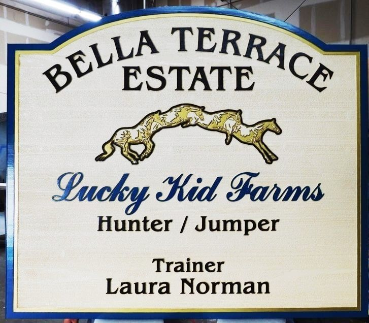 """P25232 - Carved and Sandblasted Entrance Sign for the """"Bella Terrace Estate""""  with  a  Sequence of a Horse Jumping over a Fence as Artwork"""