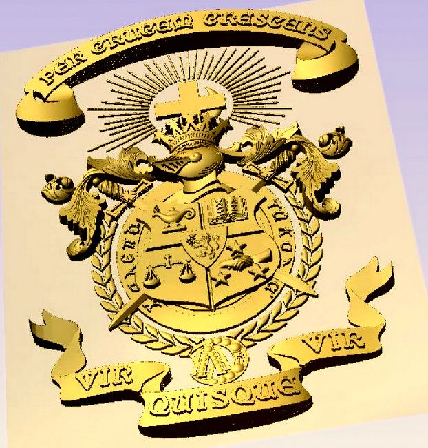 Y34502 - Carved 3-D Bas-relief HDU WallPlaque for Lambda Chi Alpha Coat-of-Arms (24K Gold-Leaf Gilded)