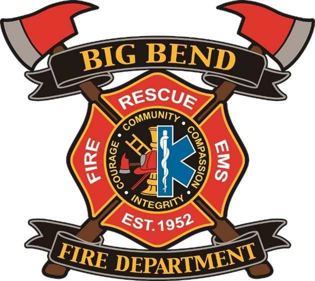 QP-3100 - Carved Wall Plaque of  the Seal/Badge  of the Big Bend Fire Department, Texas, Artist Painted