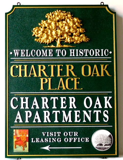 K20228 - Entrance Sign to Charter Oak Apartments, with Carved 3_D Oak Tree, Gilded with 24K Gold Leaf.