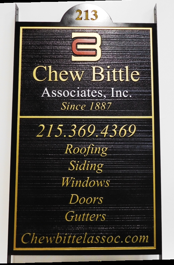 "S28097- Large Carved and Sandblasted Wood Grain  HDU Commercial Sign made for the ""Chew Bittle Associates"" Home Contractor, 2.5-D Artist-Painted"