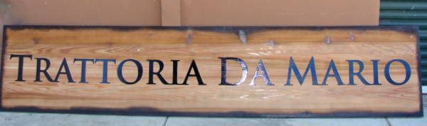 "Q25056 - Antique, Rustic Carved Wood Italian Restaurant Sign ""Trattoria Da Mario"""