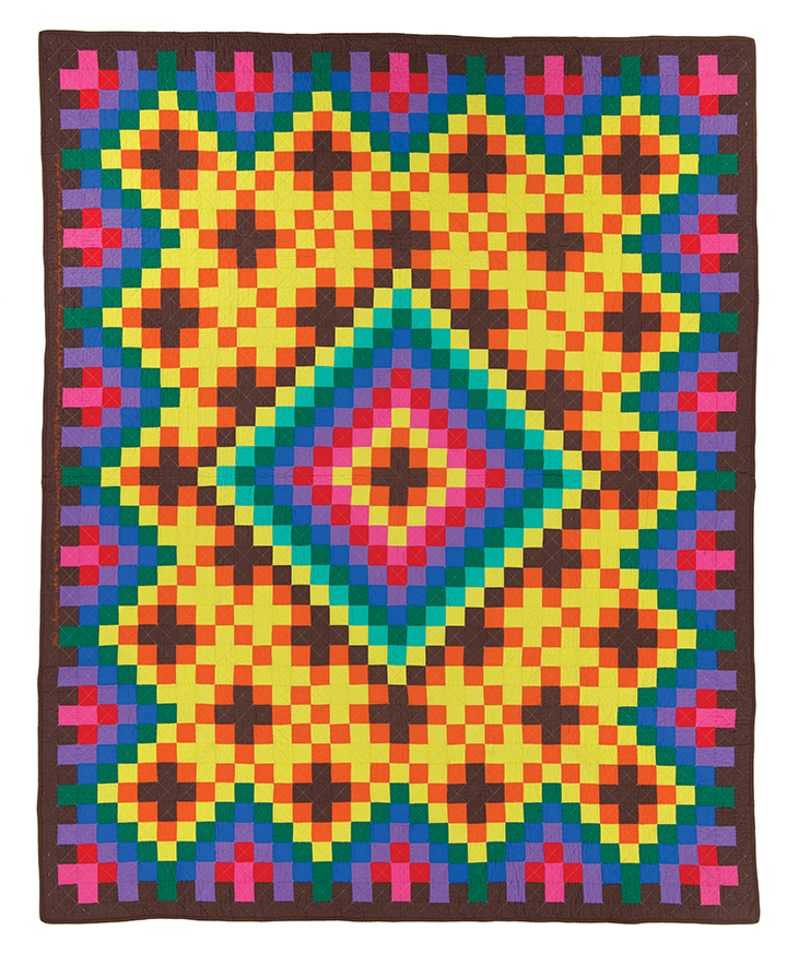 "Original Pattern quilt (Crosses and Pyramids), machine pieced and quilted by Ernest B. Haight, c. 1973, 92.5"" x 74.5"", loaned by Elmer and Darlene Haight and family"