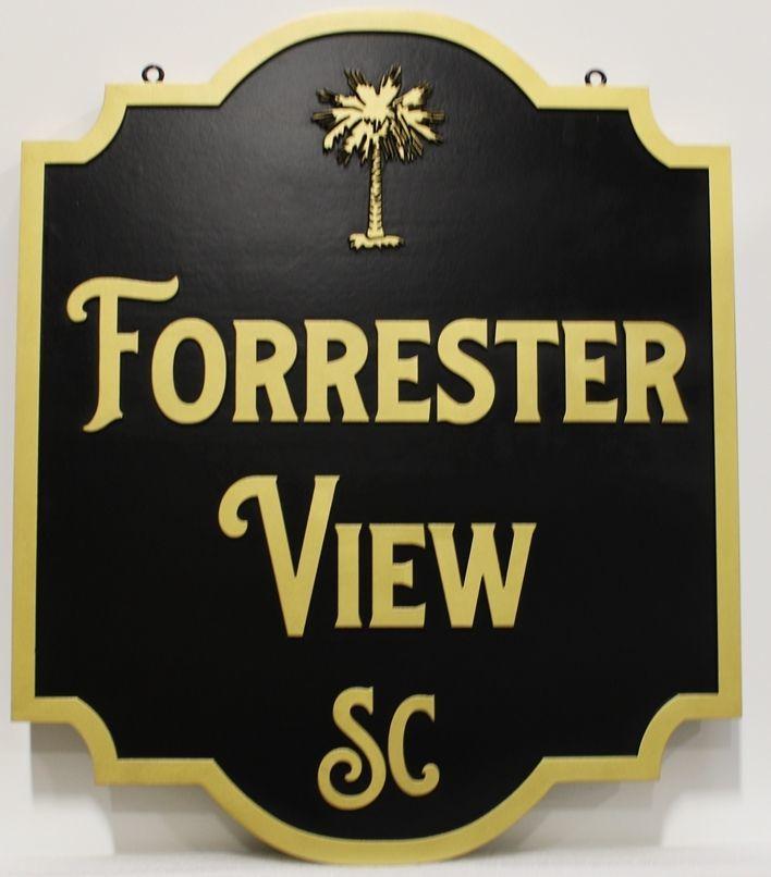 """l22166 - Carved 2.5-D HDU Property NameSign """"Forrester View"""""""