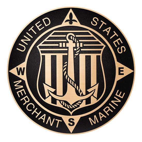 M7120 - Cast Bronze Plaque of the Seal  of  US Merchant Marine 2.5-D