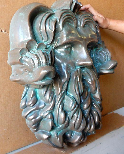 M7075 - Bronze Neptunes's Head Half-Relief Sculpture, Bronze-coated with Verde (Green) Patina Overcoat