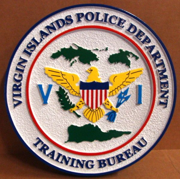 PP-3260 -  Carved Wall Plaque of the Seal of the Virgin Islands Police Department,  Artist Painted