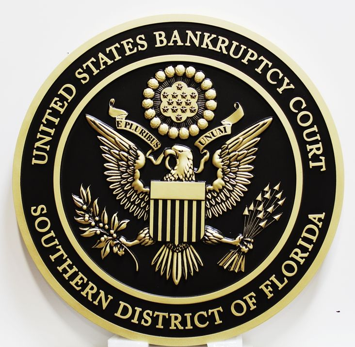 FP-1400 - Carved Plaque of the Seal  of the US Bankruptcy Court, Southern District of Florida, Brass Plated