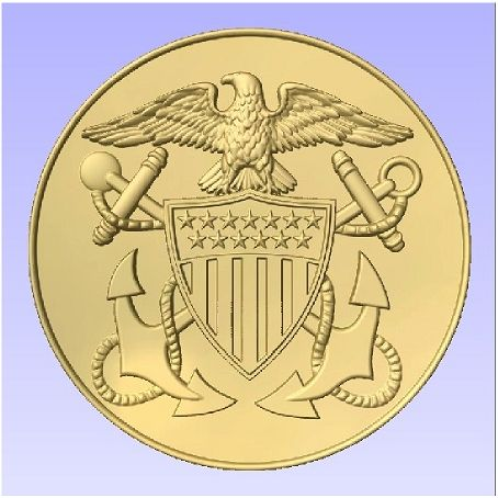 JP-1194 -  Carved Plaque of the Great Seal  of the US Navy, Painted Metallic Gold