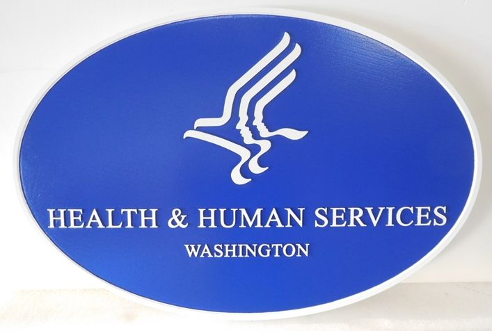 AP-6065 - Carved Plaque of an Emblem for the US Department of Health & Human Services, 2.5-D Flat Relief,  Artist Painted