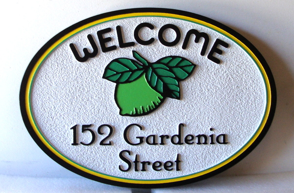 I18338 - Carved and Sandblasted HDU Property Address Sign, with Lime and Leaves