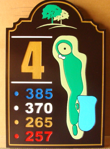 E14413 – Carved Redwood Golf Tee Sign (4th hole) for Country Club, with Fairway Map