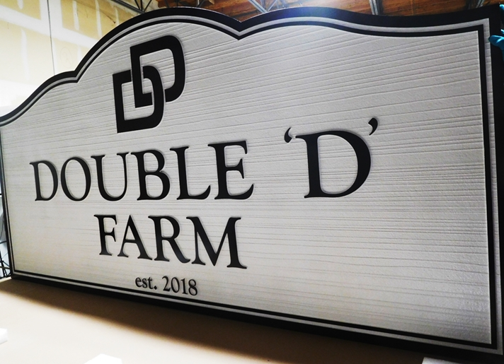 "O24061 - Carved and Sandblasted HDU Entrance Address Sign for  ""Double D Farm""."