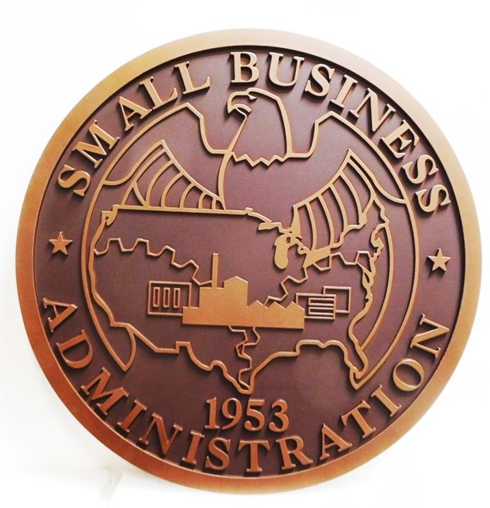 AP-5045- Carved Plaque of the Seal of the US Small Business Administration,  2.5-D Outline Relief Artist Painted in Two Colors