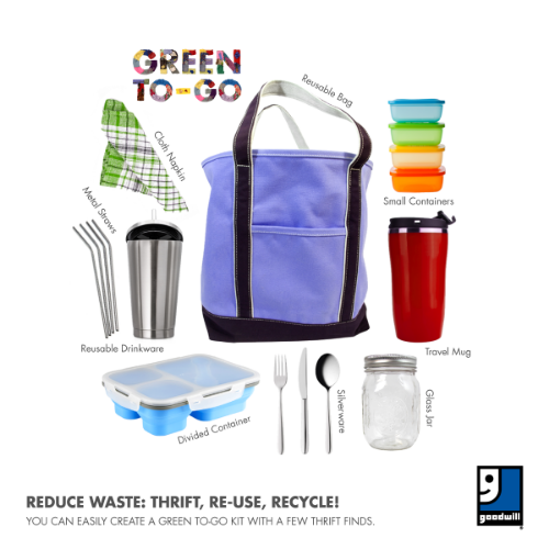 Items in a green to-go kit: utensils, bag, cloth napkin, glass jar, divided food container, travel mug, metal straws, reusable drinkware