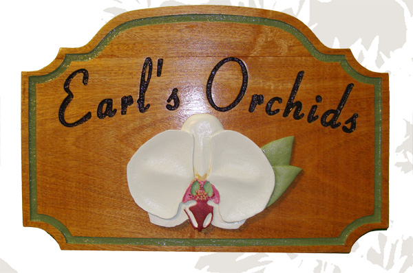 "SA28360 - Stained Wood Sign for""Earl's Orchids"" Shop with 3-D Carved Orchid"
