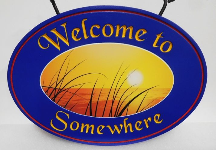 "L21046- Carved ""Welcome to Somewhere""  Beach-House Sign, with a Giclee Print of a  Scenic View of Plants, Sea and Sunset"