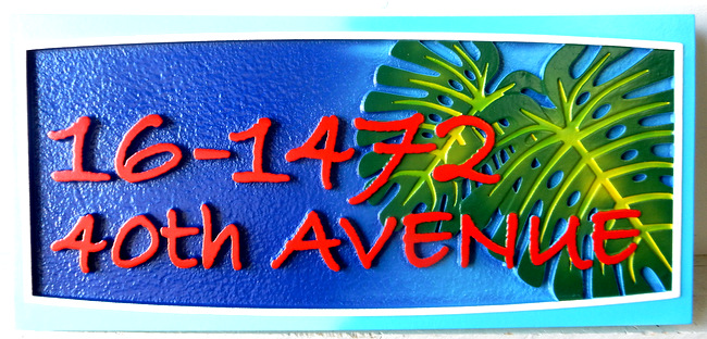 I18776 - Carved  Address Sign with Philodendrum Leaf