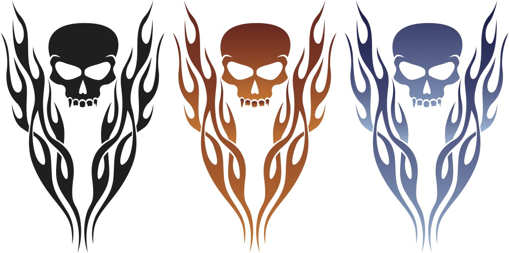Skull with Flame Decals