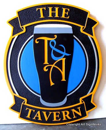 "RB27557 - Home  Pub / Bar Sign, ""The Tavern"",  with Glass of Guiness as Artwork"