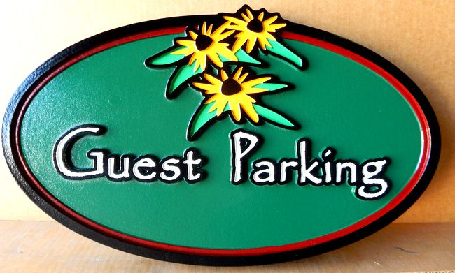 "T29455 - Carved and Sandblasted  HDU  ""Guest Parking"" Sign for B & B"