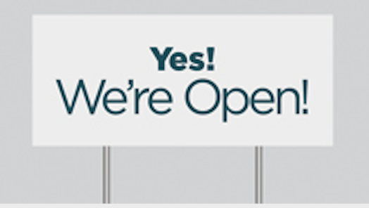 We're Open Corrugated Lawn Sign