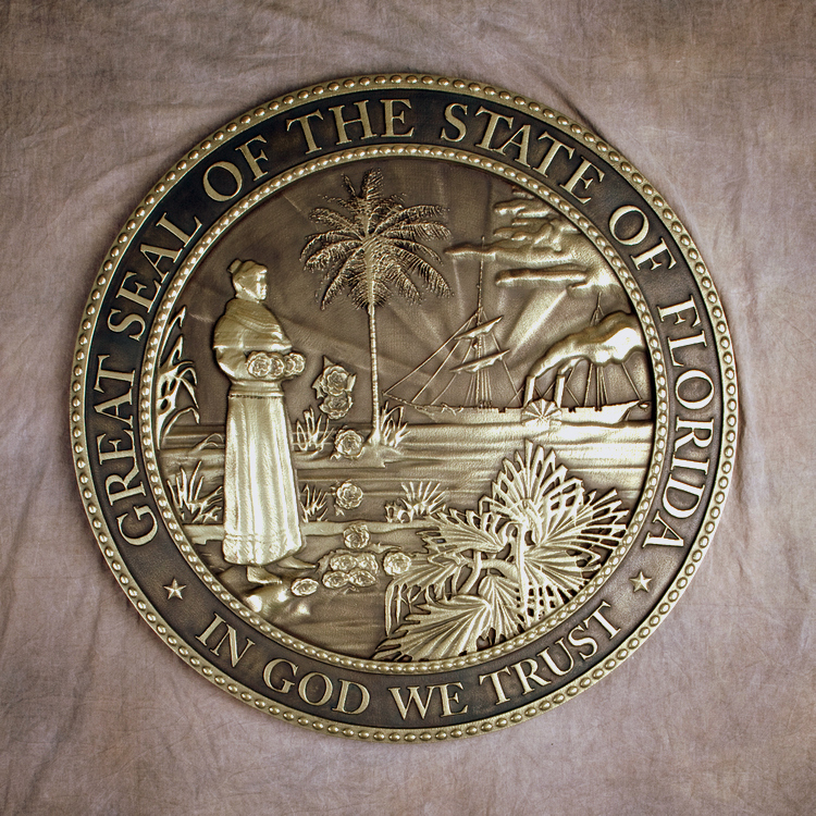 W32112 - Bronze-coated 3D Bas-relief Carved HDU Wall Plaque of the Great Seal of State of Florida