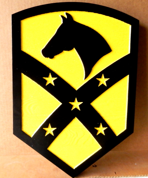 MP-1800 - Carved Plaque of the Insignia of a Cavalry Unit of the US Army,    Artist Painted