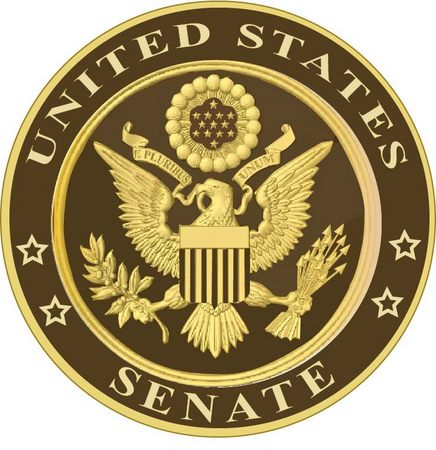 U30154 - Carved 3D Wooden Wall Plaque for the US Senate, Gold Leaf and Bronze