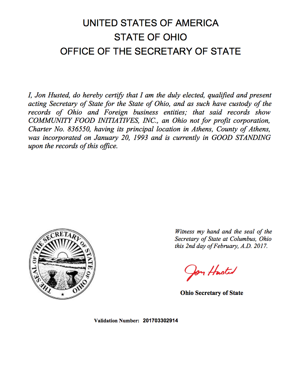 2017 Certificate of Good Standing