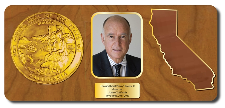 "BP-1080- Retirement Plaque for Governor ""Jerry"" Brown, Mahogany Veneer with Giclee Appliques"