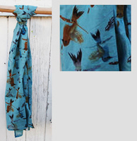 Hummingbird Cotton Scarf - Teal