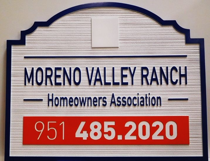 "K20380 - Carved High-Density-Urethane (HDU)  Entrance sign for a HOA of a Residential Community, ""Moreno Valley Ranch""."