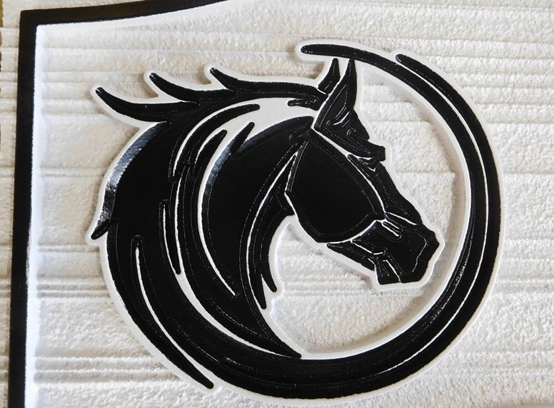 P25080- Carved  and Sandblasted HDU Artwork for a Sign, Featuring a Multi-Level Horse's Head