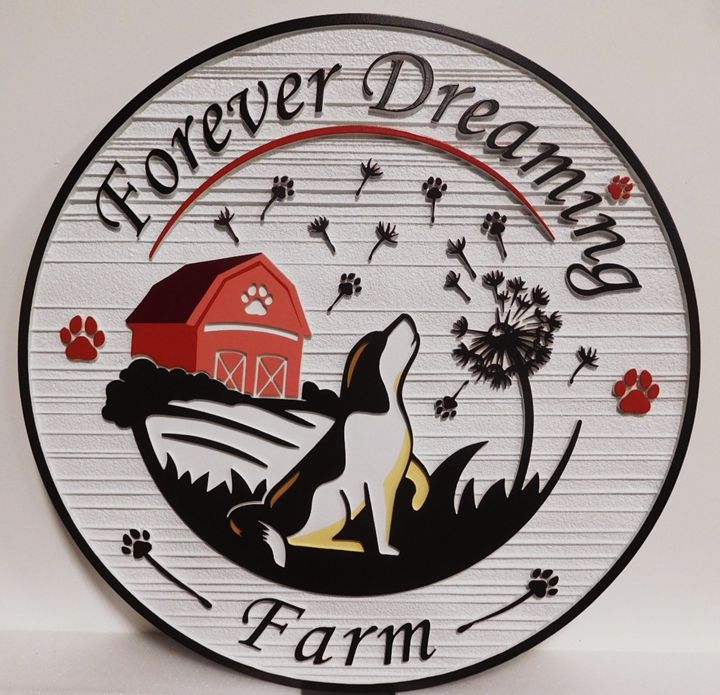 """O24814 - Carved Entrance Sign for the """"Forever Dreaming Farm""""  with  a Barn and Howling Dog as Artwork"""