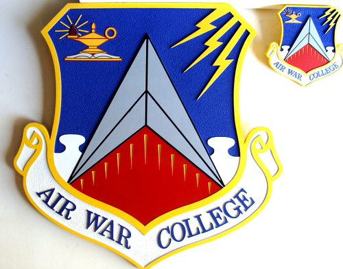 V31525 - 2.5D Carved HDU  Air Force War College Shield Emblem Wall Plaques