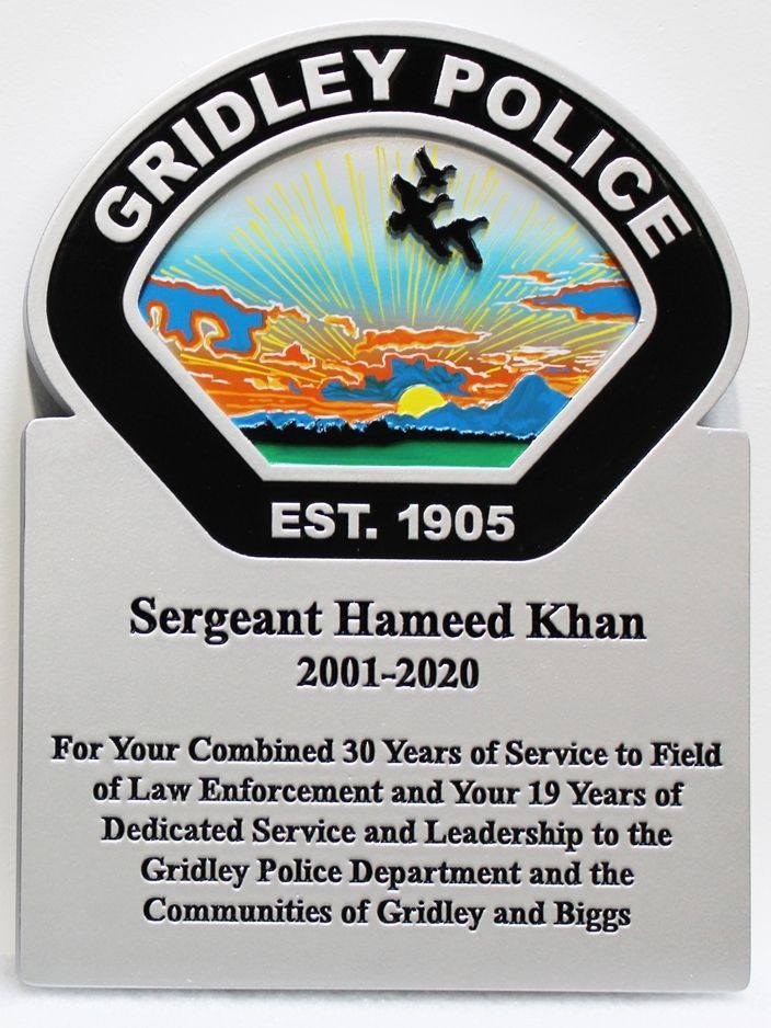 PP-3435 - Retirement Plaque for a  a Sergeant of theGridley Police Department, California