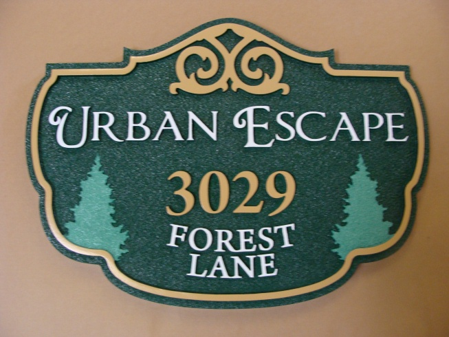 "M22068 - Twin Fir Address Sign ""Urban Address"""