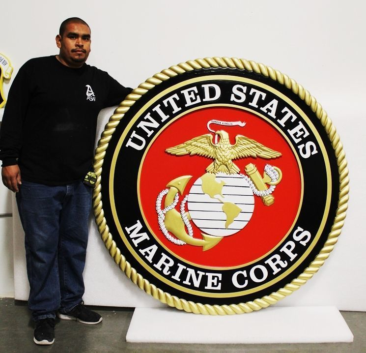 V31401 - Carved Emblem of the US Marine Corps,3-D Artist Painted