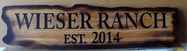 O24954 - Rustic, Burn Look, Wood Sign for Wieser Ranch