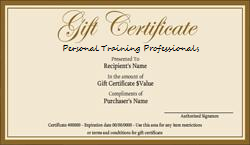 Personal Training Professionals Gift Certificates