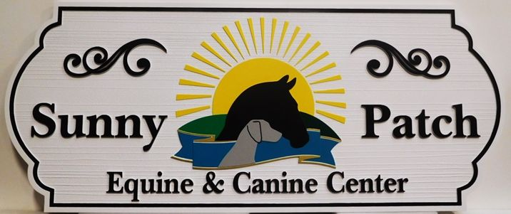 BB11767 - Carved and Sandblasted  Entrance Sign for the Sunny Patch Equine & Canine Center, with Horse, Dog and Sunrise as Artwork