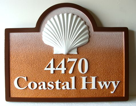 L21529 -  Sandblasted Beach House Address Sign, with Carved 3-D Clam Shell