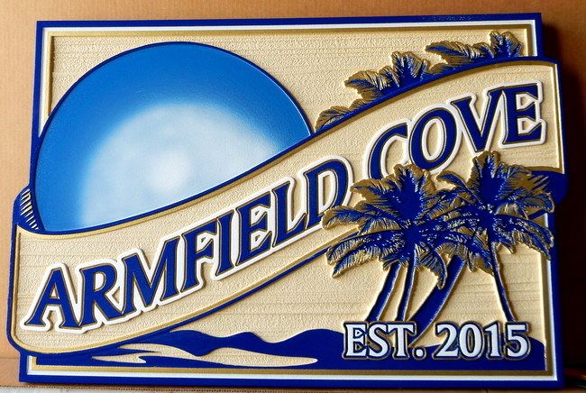 M1612 -  Carved Tropical Seacoast Residence Sign, with Blue Moon and Palm Trees (Gallery 20)