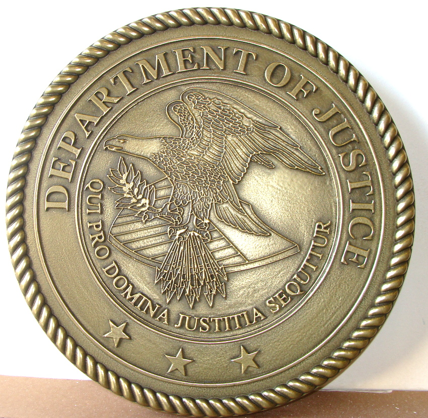 AP-2360 - Carved Plaque of the Seal of the US Department of Justice, Brass Plated