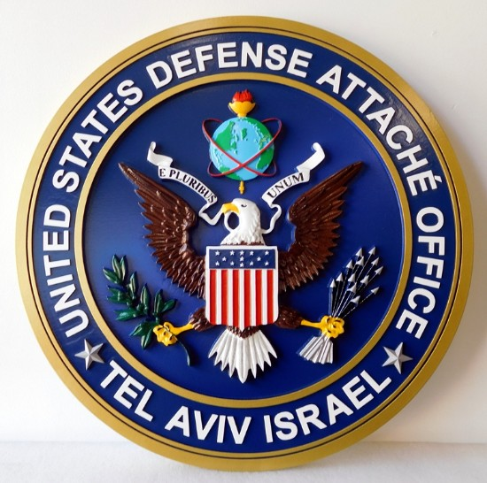 AP-3830- Carved Plaque of the Seal of the US Defense Office, Tel Aviv, Israel,  Artist Painted