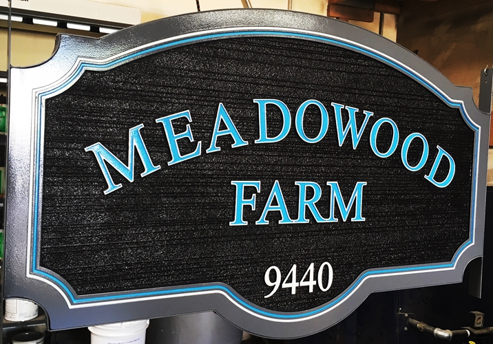 "O24052 - Carved HDU Entrance Address Sign for  ""Meadowood Farm"""