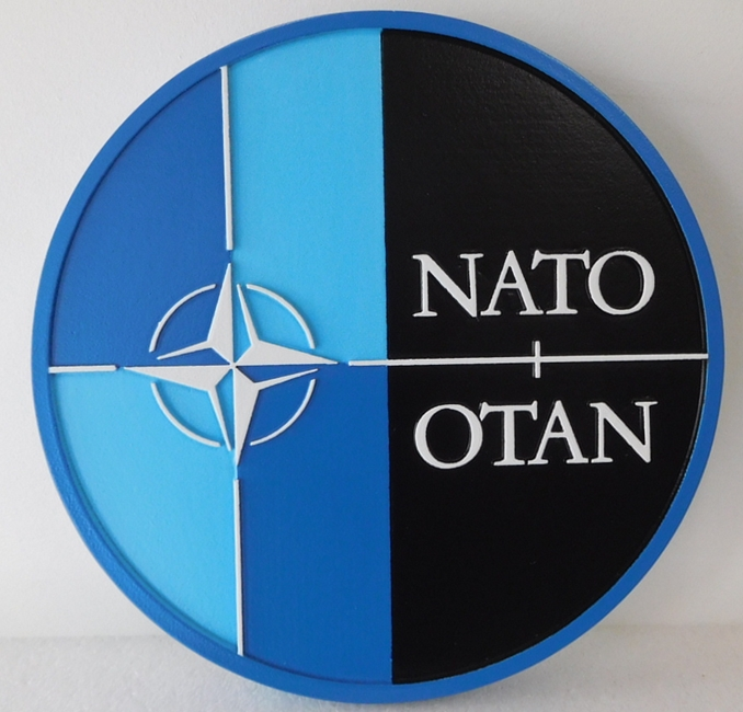 EP-1182  - Carved Plaque of the Great Seal  of  the North Atlantic Treaty Organization (NATO  or OTAN), Artist Painted