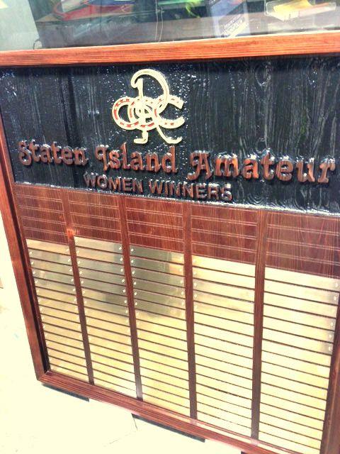E14718 - Sandblasted Mahogany Plaque Listing Winner's Names for Womens' Golf Tournament