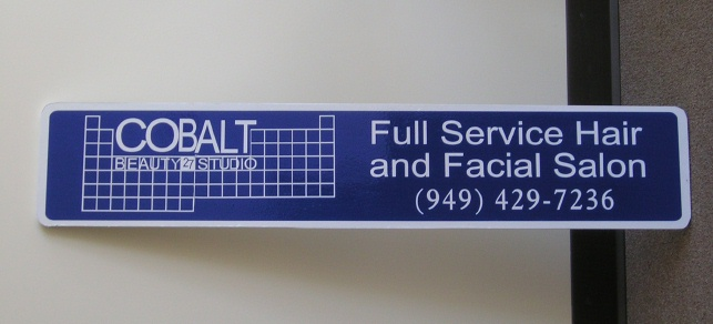 "SA28436 - Carved and Sandblasted HDU Sign for ""Cobalt Beauty Studio"", Full-Service Hair and Facial Salon"
